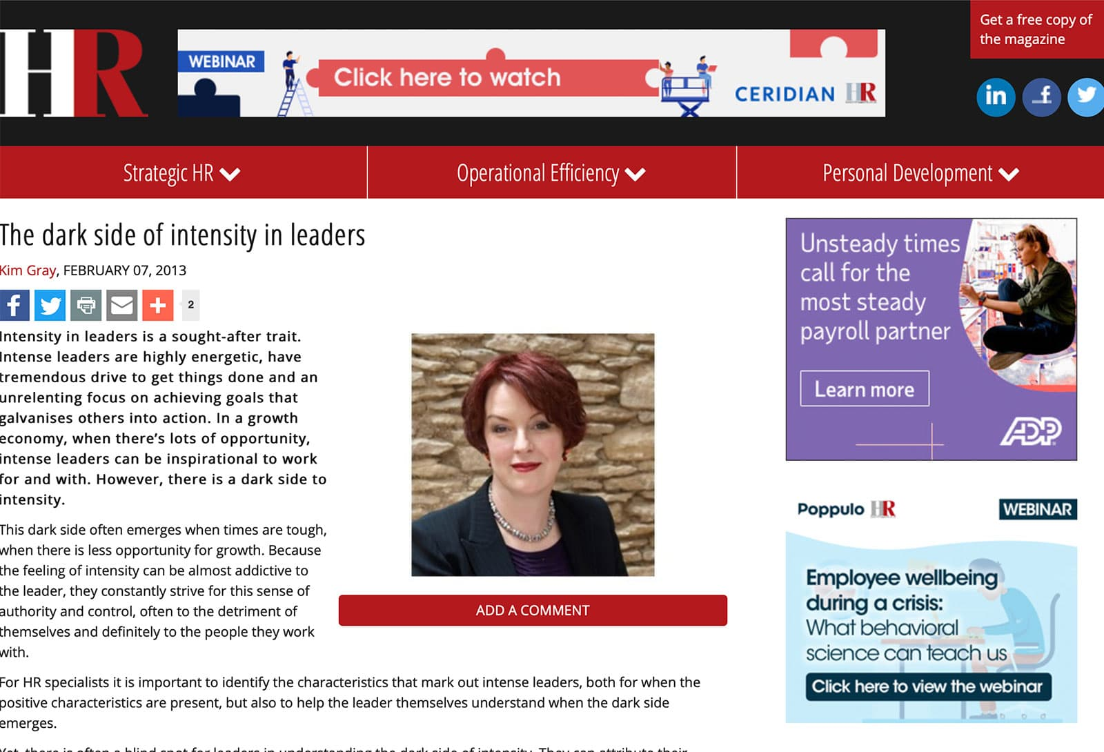 Kate Lanz article in HR Magazine about intensity in management