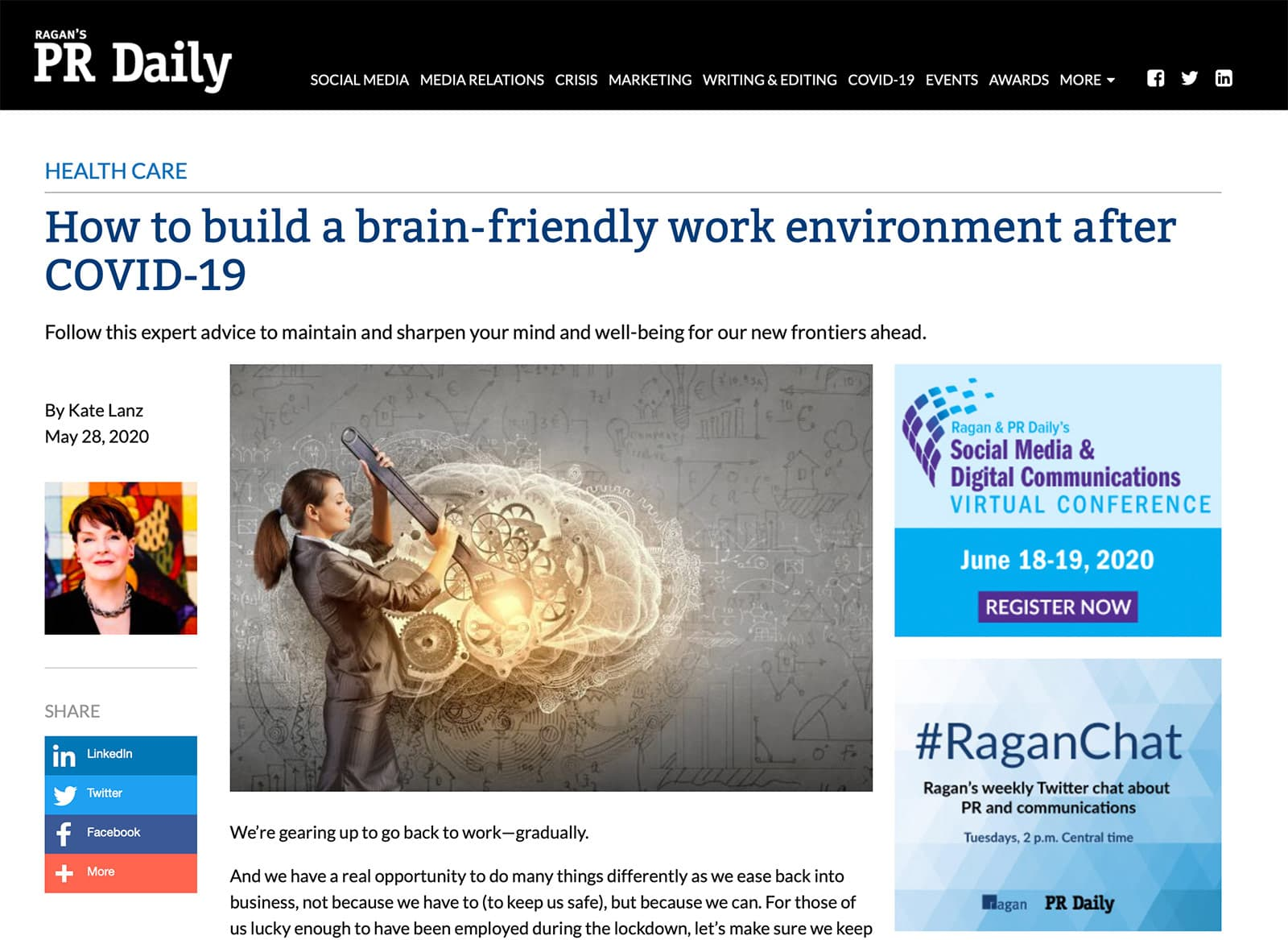 Mindbridge brain friendly workplace article