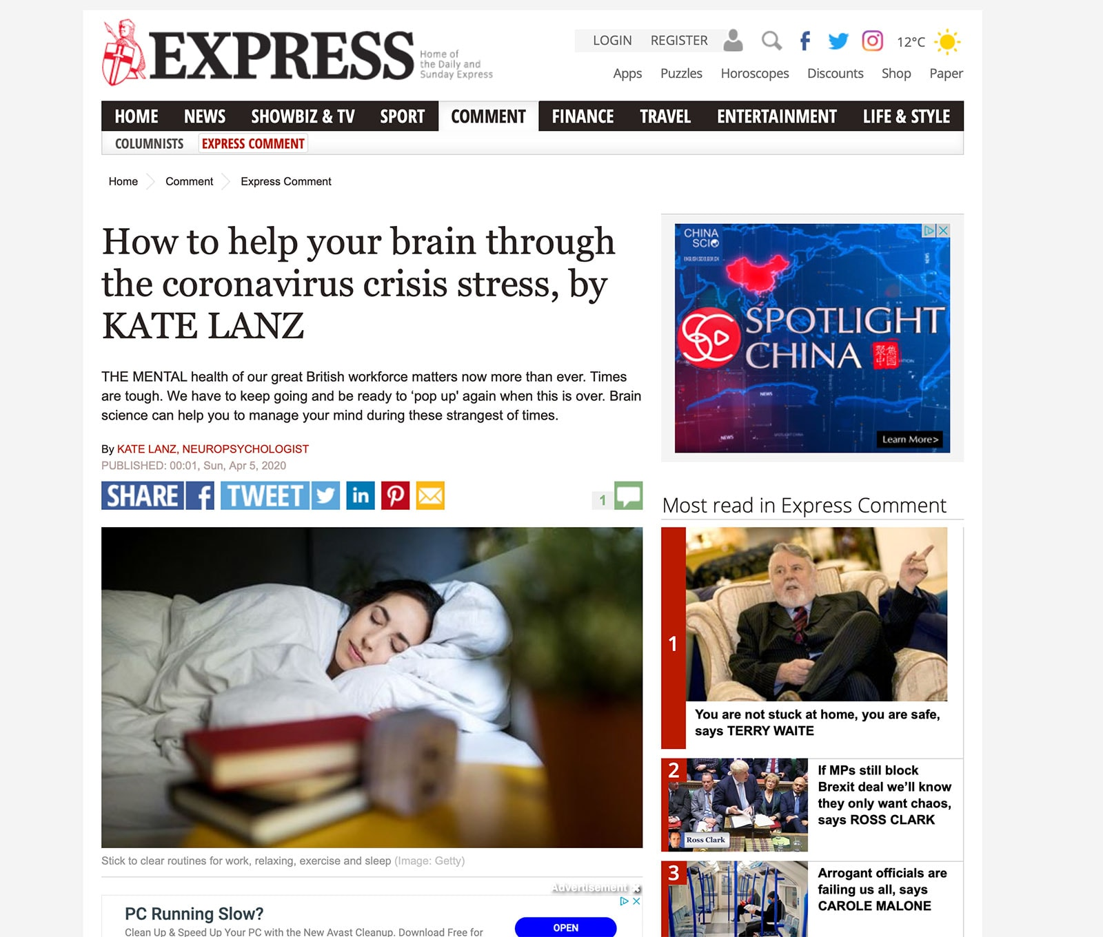 How to help your brain through the coronavirus crisis stress in The Express
