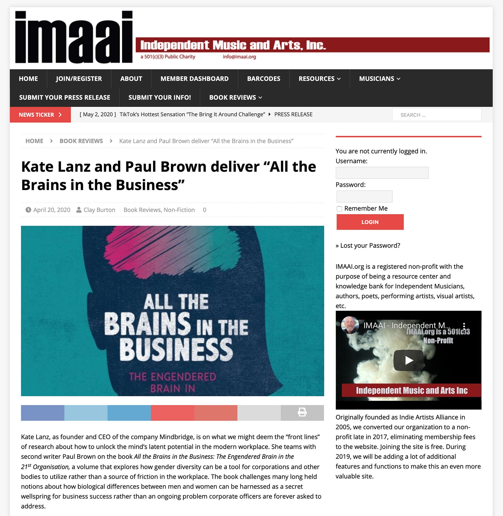 "Kate Lanz and Paul Brown deliver ""All the Brains in the Business"" in iamii"