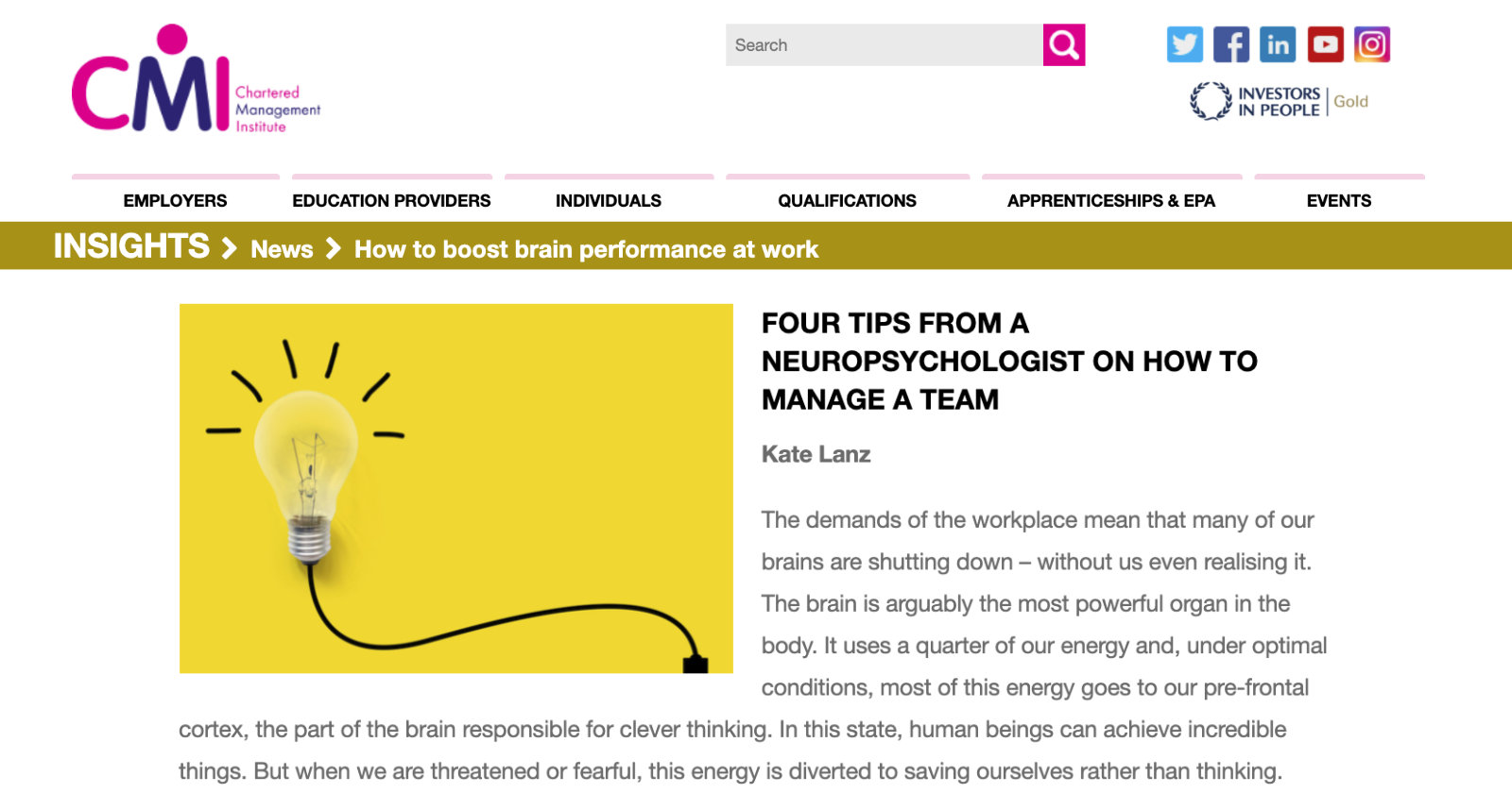 CMI Article four tips from a neuropsychologist on how to manage a team