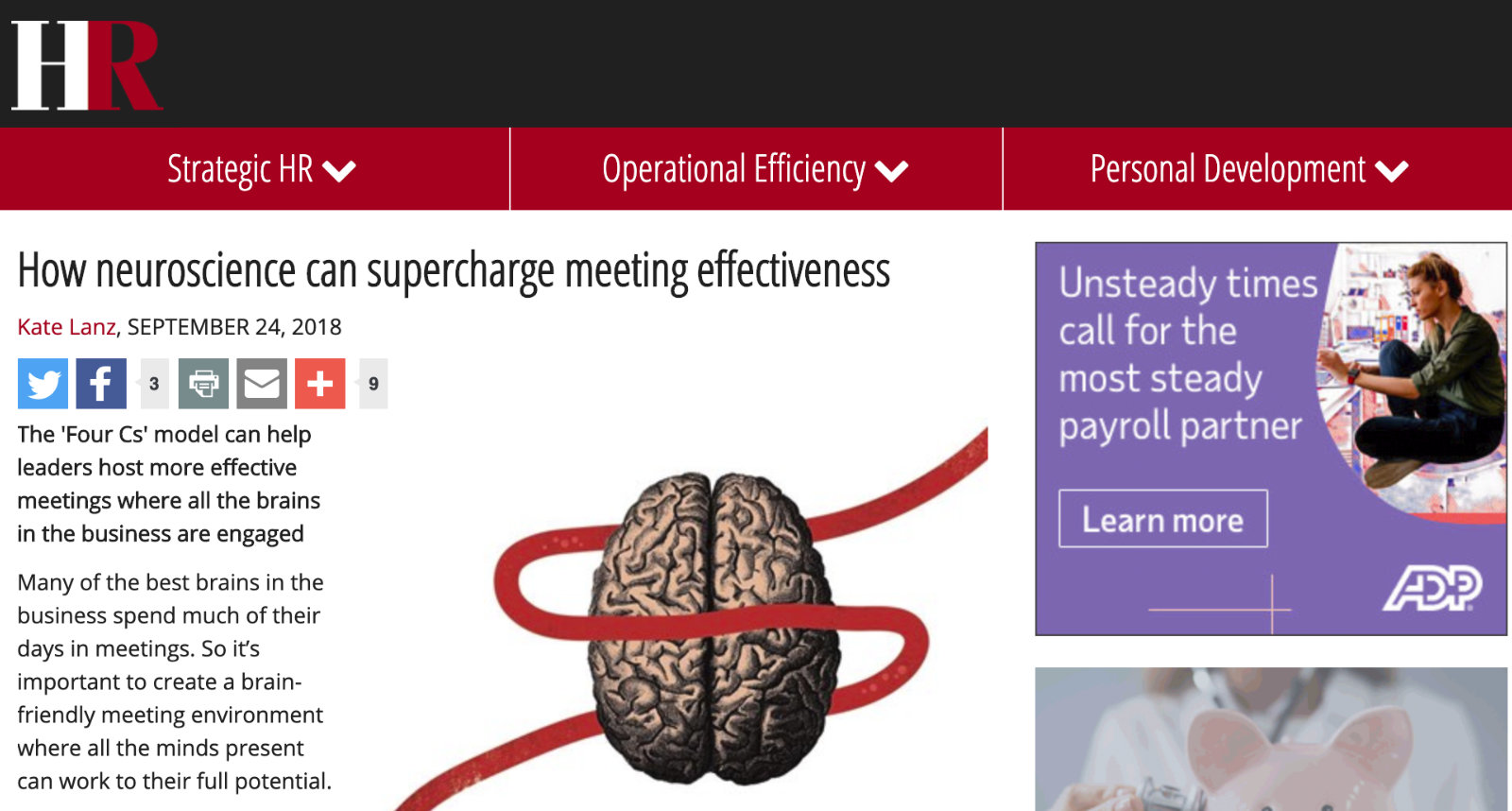 HR Magazine Article how neuroscience can supercharge meeting effectiveness