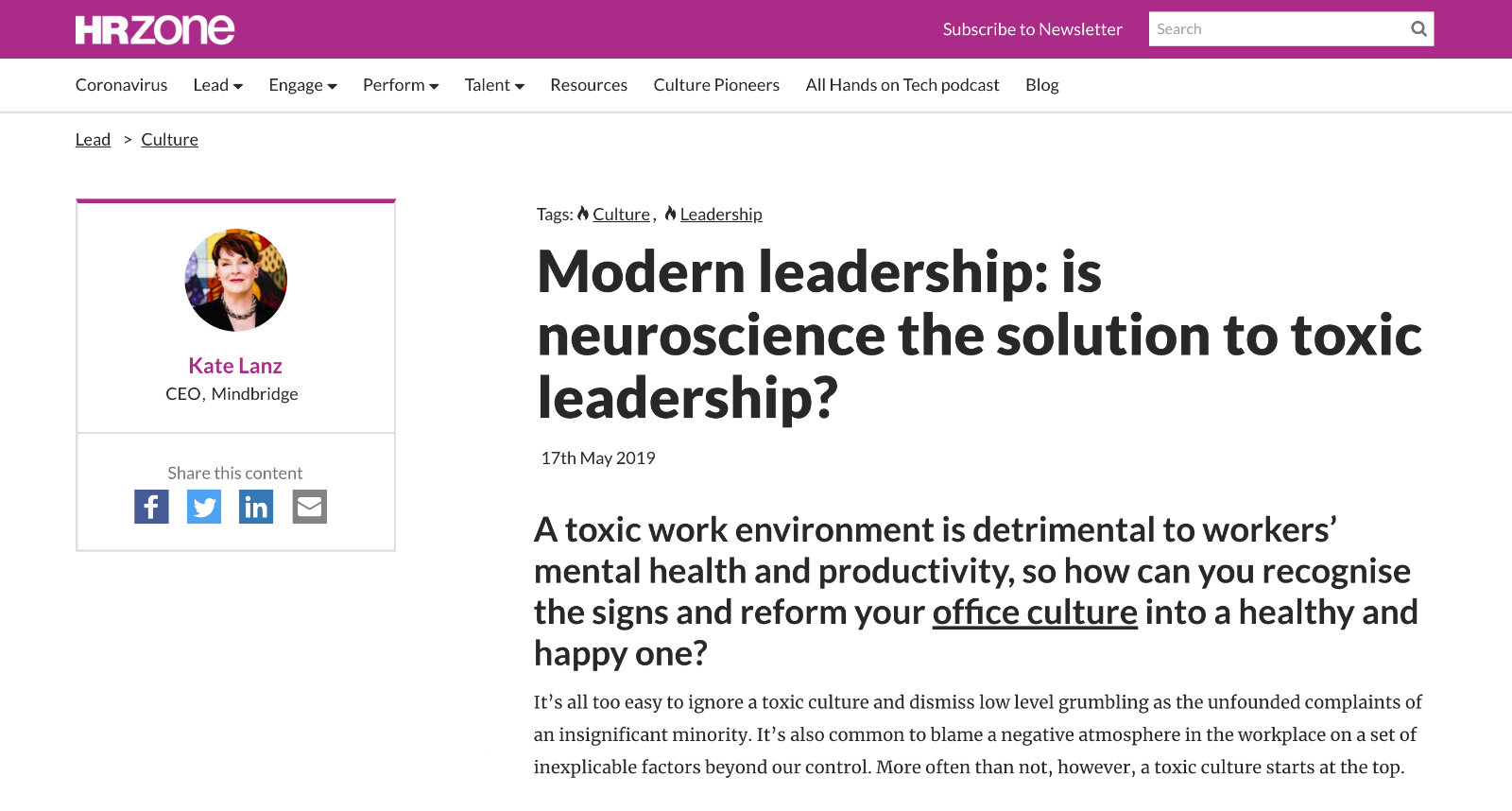 HR Zone Article is neuroscience the solution to toxic leadership