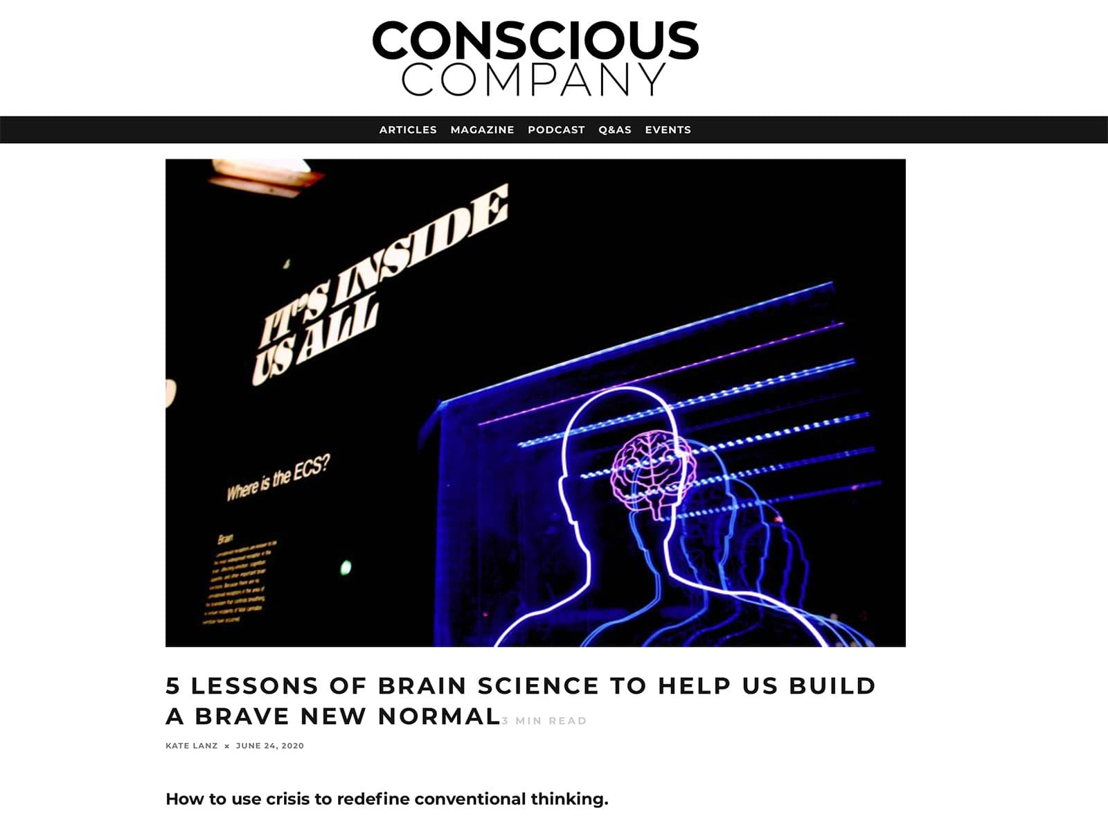 Mindbridge article on brain science &
