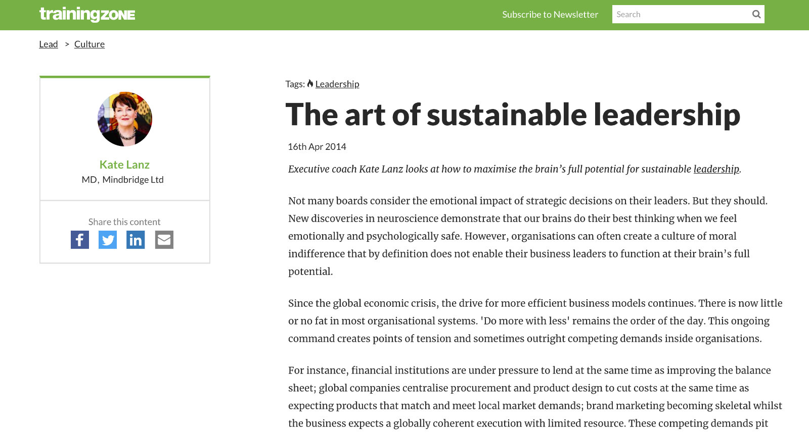 The art of sustainable leadership article in TrainingZone