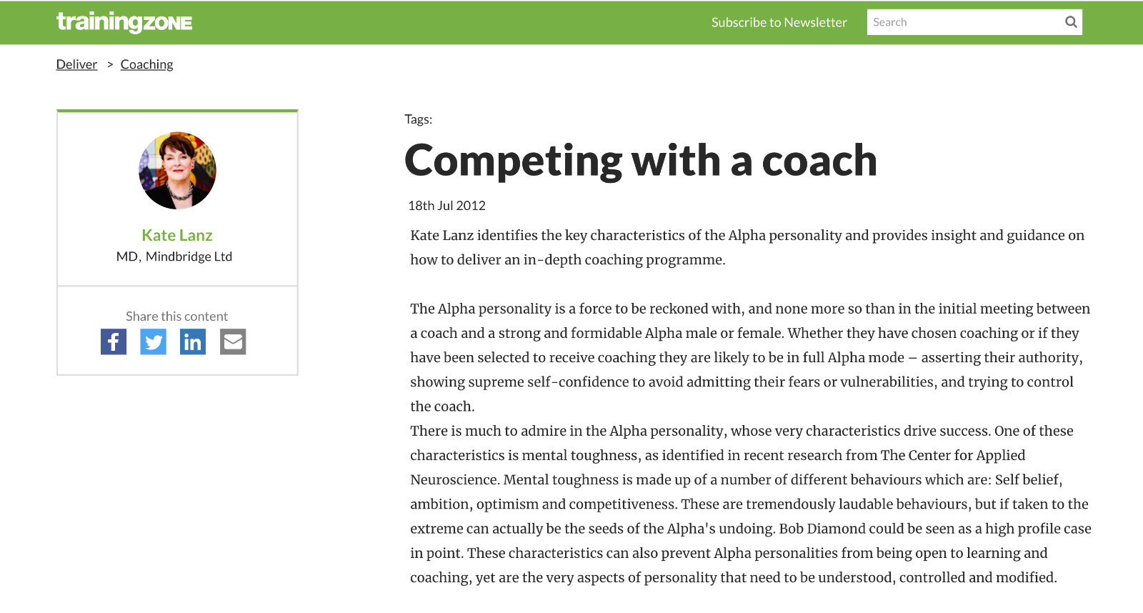 Competing with a coach article in TrainingZone