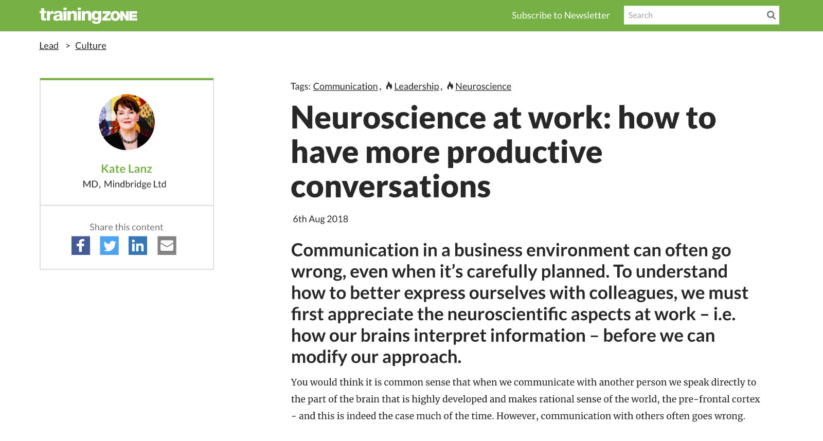 Neuroscience at work: how to have more positive conversations article in TrainingZone