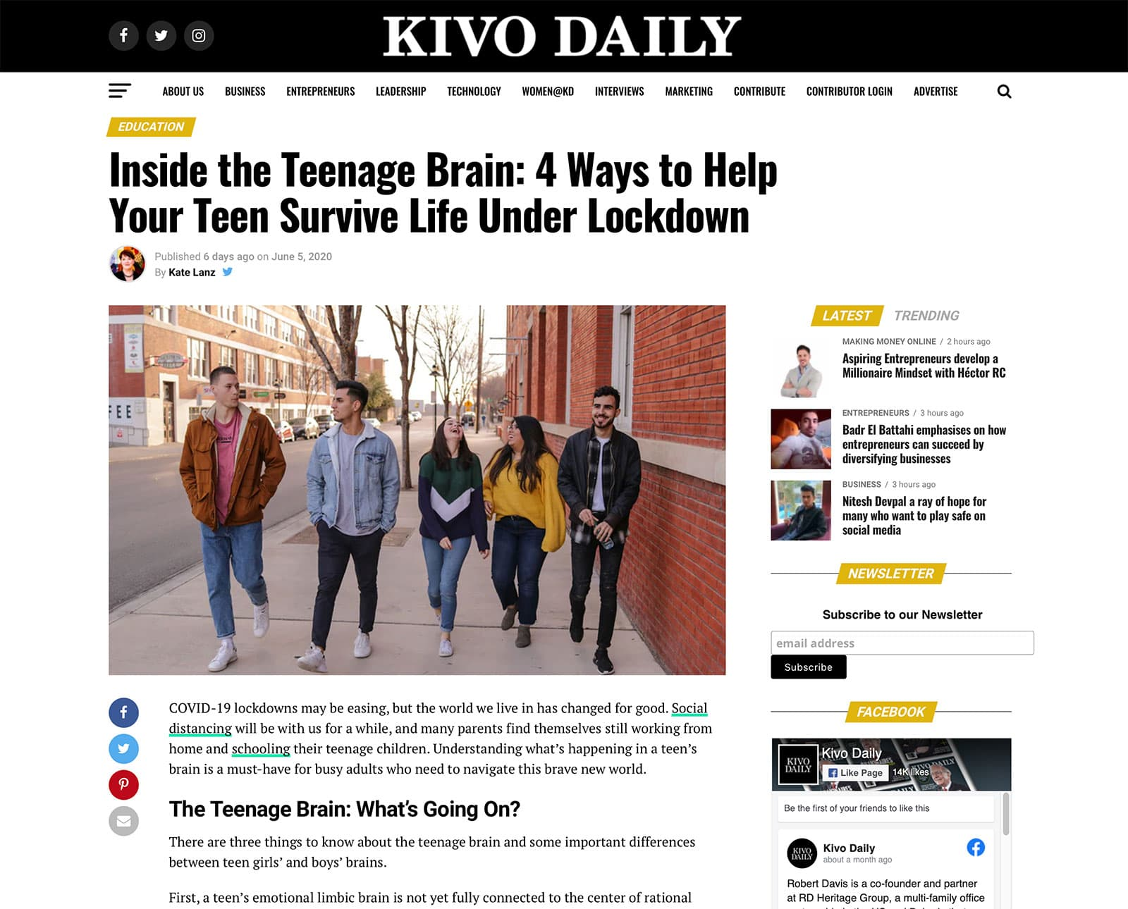 Teenage brains article Kivo Daily