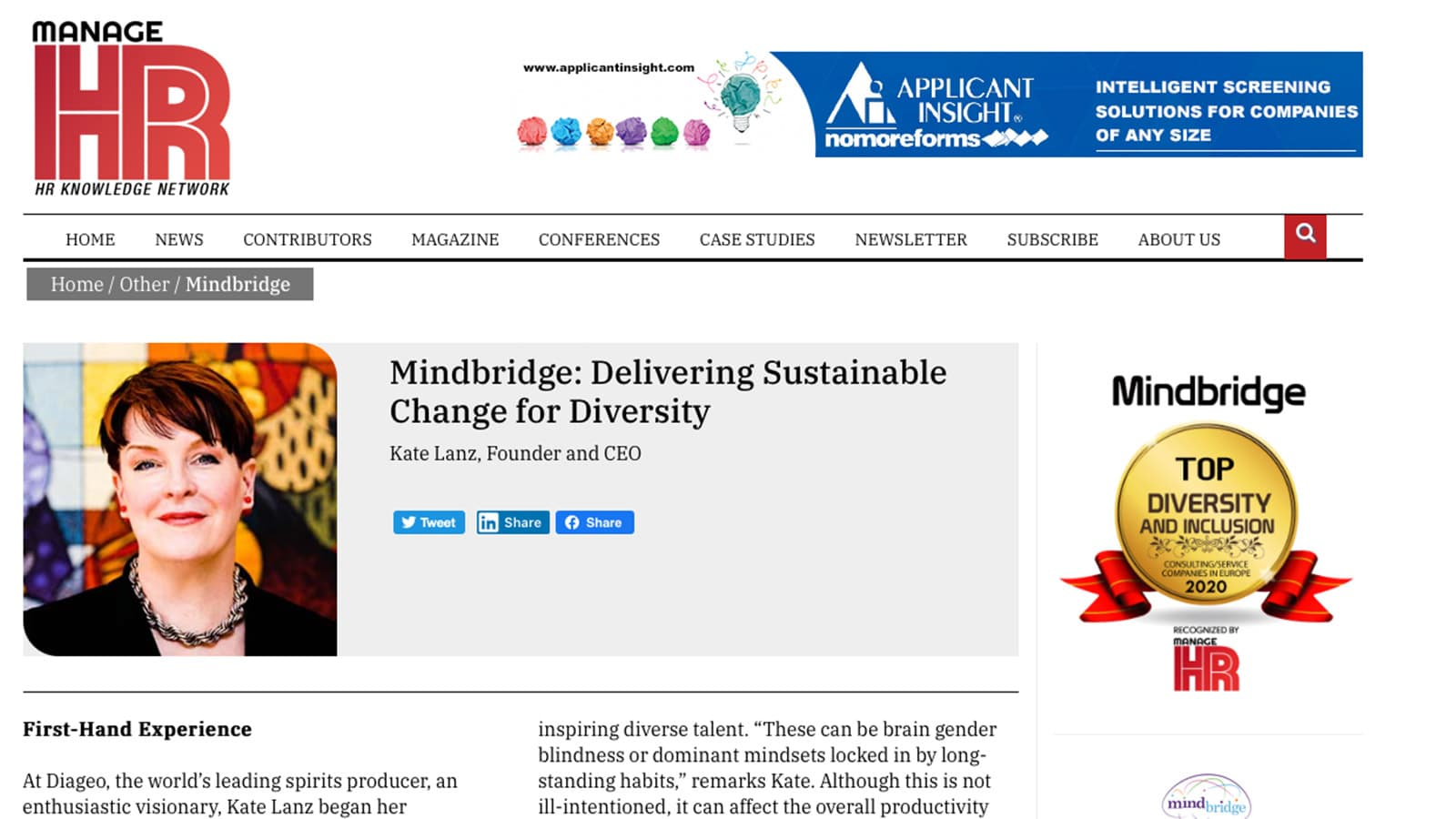 Mindbridge in Manage HR magazine