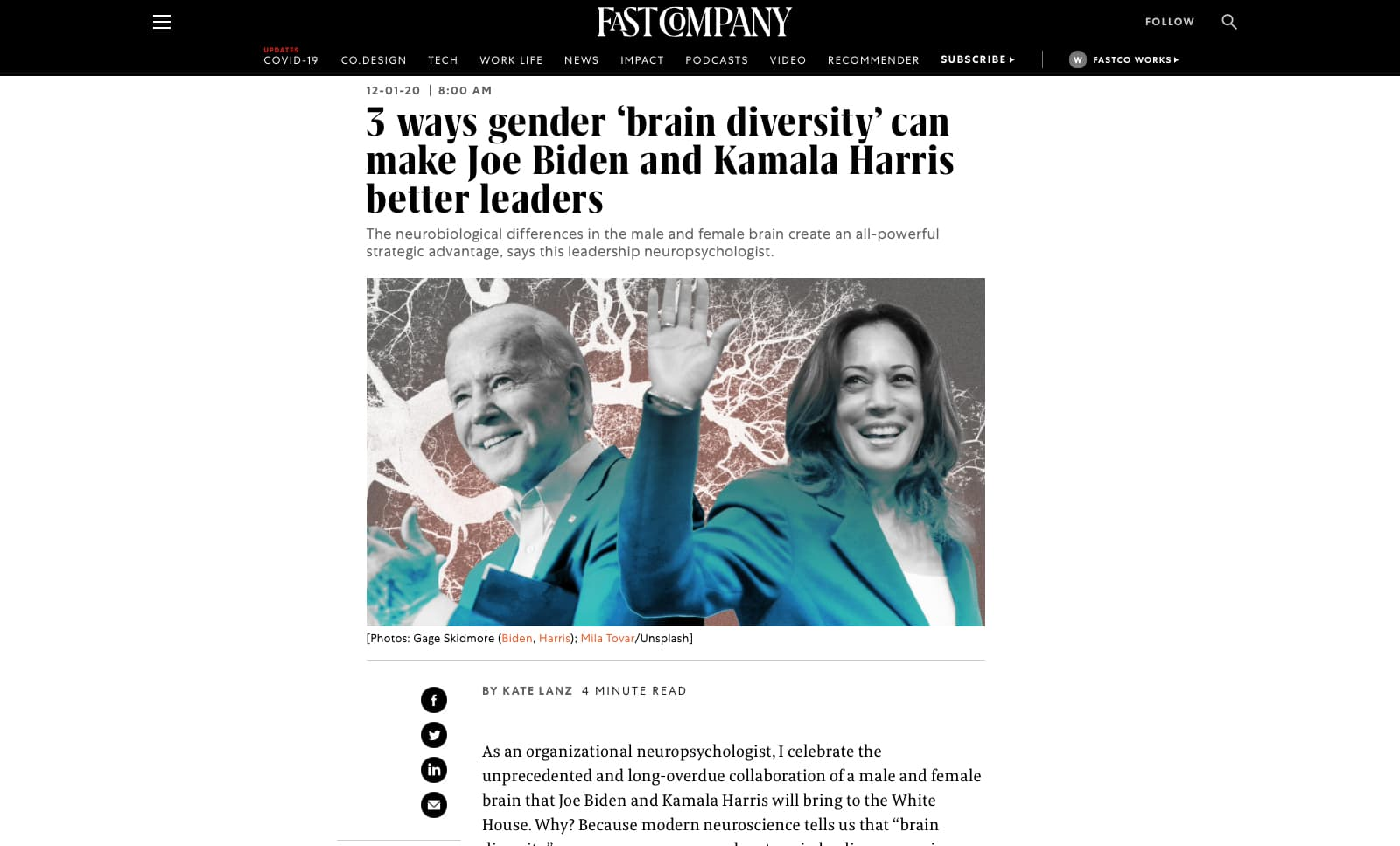 3 ways gender 'brain diversity' can make Joe Biden and Kamala Harris better leaders